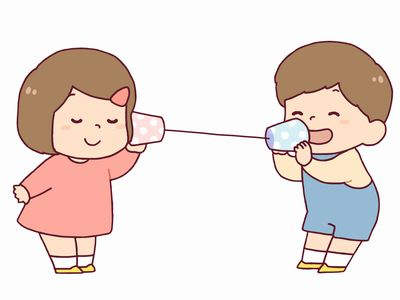 糸電話で話している様子