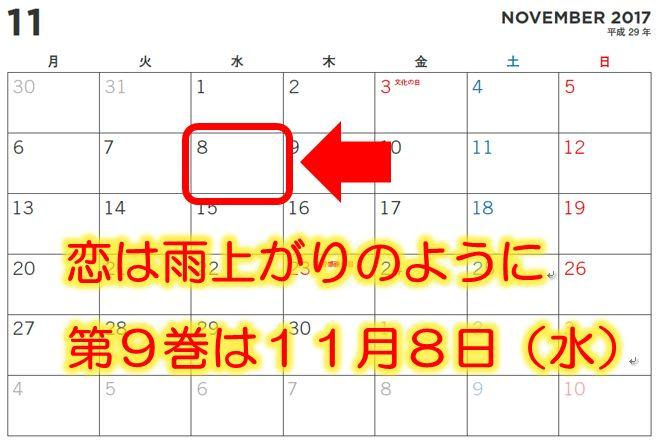 恋は雨上がりのように9巻発売日の2017年11月8日のカレンダー