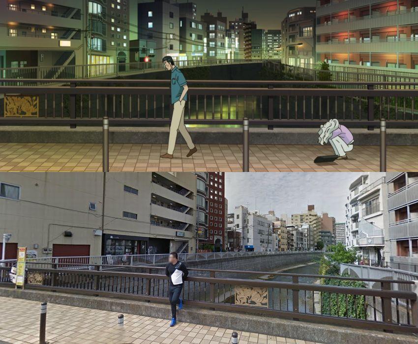 戸田平橋での近藤と九条ちひろ(アニメ)