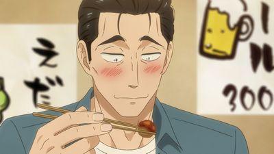 味噌田楽を美味そうに食べる近藤
